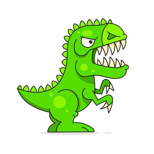 Gullig Grön Dinosaur Isolerad På Vit Bakgrund. Rolig tecknadskaraktär vektor