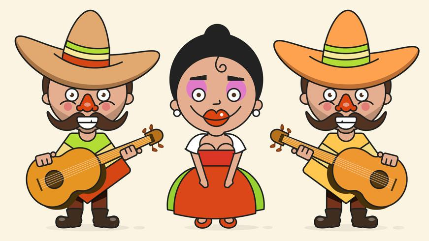 Mexican Musicians Vector Illustration With Two Men And A Woman With Guitars In Native Clothes And Sombrero Flat Vector