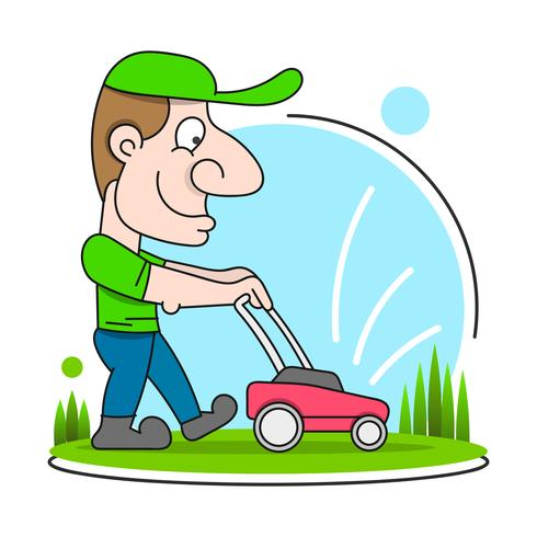 Illustration Of A Gardener Wearing Hat And Overalls With Lawnmower Mowing Lawn Viewed From Front Set On Isolated