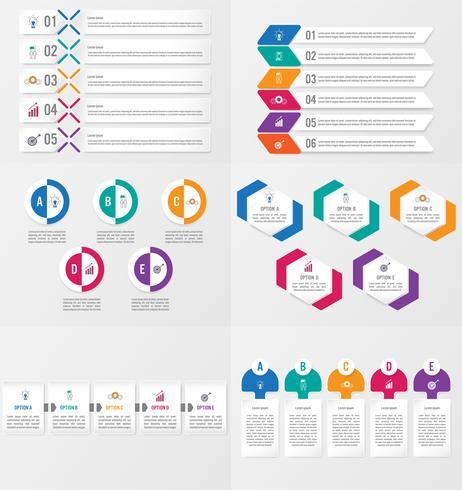 Sats med infografisk elementmall med alternativ. vektor