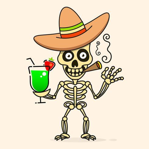 Cráneo En El Sombrero Sombrero Mexicano. Vector