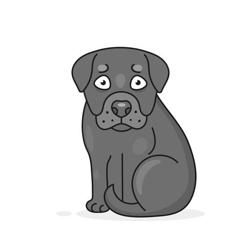 Happy Cartoon Puppy Sitting, Portrait Of Cute Little Dog . Dog Friend. Vector Illustration. Isolated .