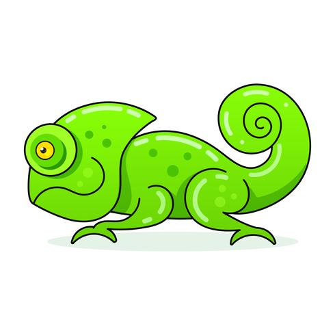 Icono de camaleón. Ilustración de dibujos animados de camaleón caminando