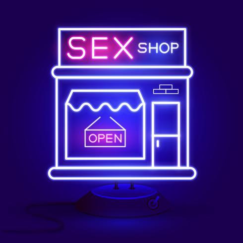 Sex Shop Now Neon Sign. Pronto per il tuo design, Greeting Card, Banner. Vettore