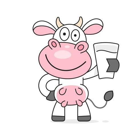 Vache avec un verre de lait vecteur