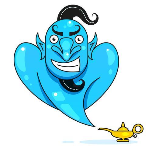 Lámpara Aladdin Con Gin, La Lámpara Mágica De Aladdin. Listo Para Su Diseño, Tarjeta De Felicitación, Banner. Vector
