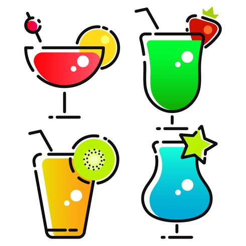 Vector Design Of Cocktail And Drink Logo. Set Of Cocktail