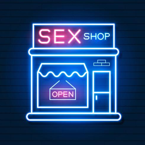 Sex Shop Now Neon Sign. Pronto per il tuo design, Greeting Card, Banner. Vettore