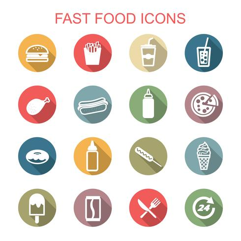 fast food long shadow icons vector