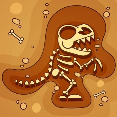 Archeology. Dinosaur Skeleton In Ground. Excavations Of Dinosaur Bones. Archaeological Tools. Vector