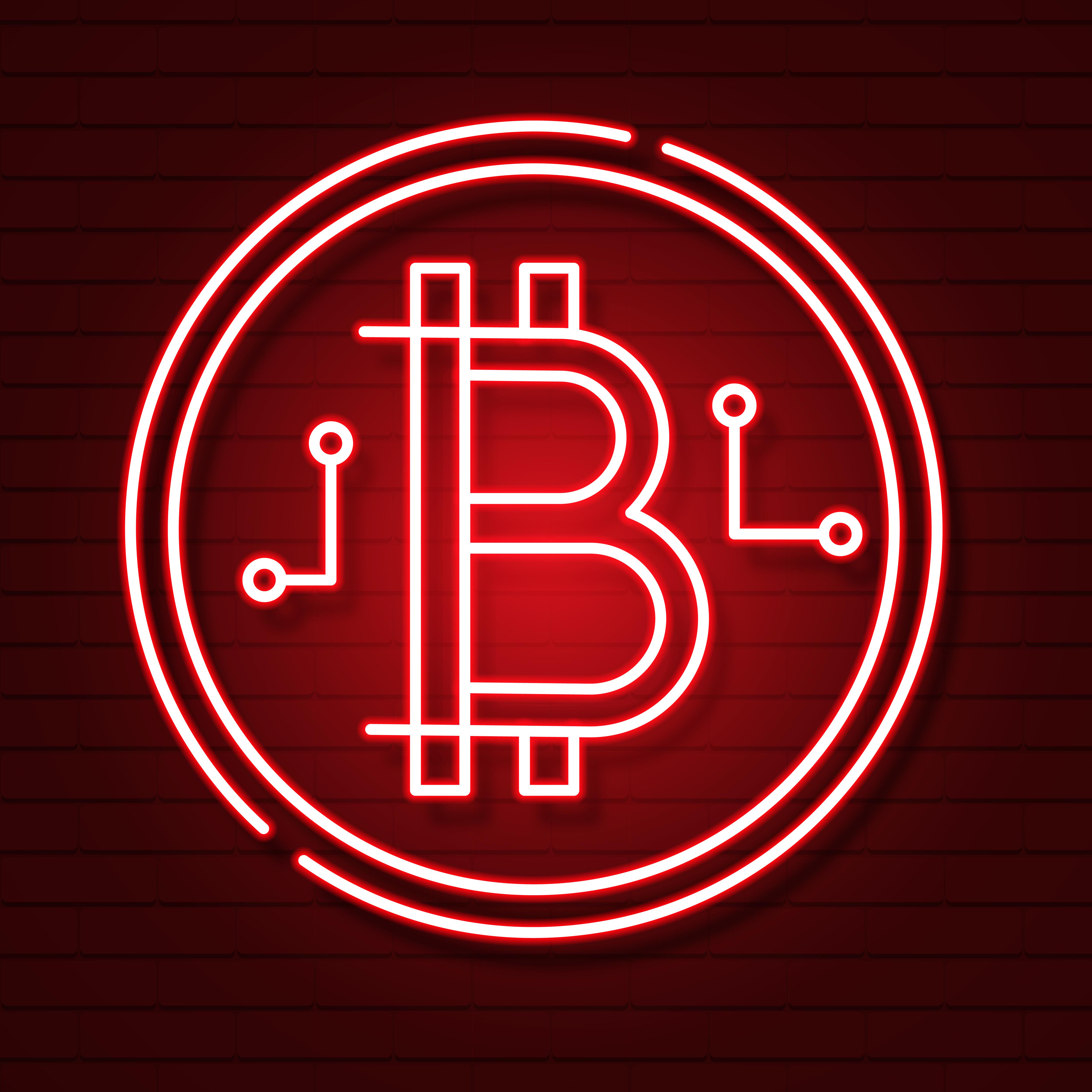 Neon Bitcoin Symbol On Black Background.light Effect ...