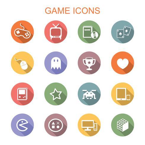 spel lång skugg ikoner