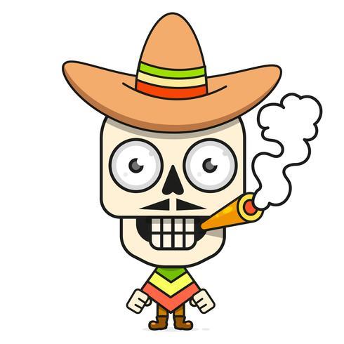 Historieta mexicana Sugar Skull Vector Illustration para Dia De Los Muertos. Cráneo masculino lindo