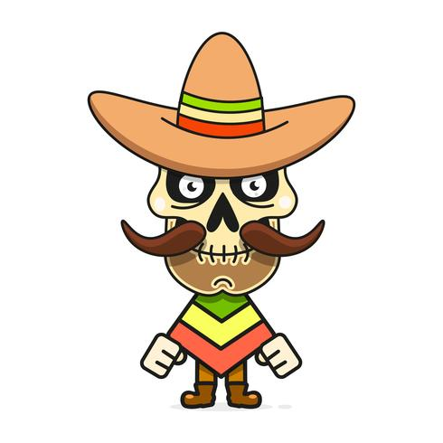 Ilustração do vetor do crânio do açúcar do mexicano dos desenhos animados para Diâmetro De Los Muertos. Crânio Masculino Bonito