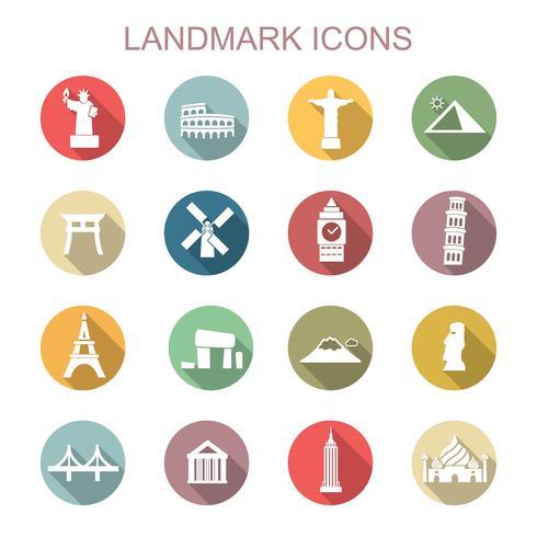 landmärke långa skugg ikoner