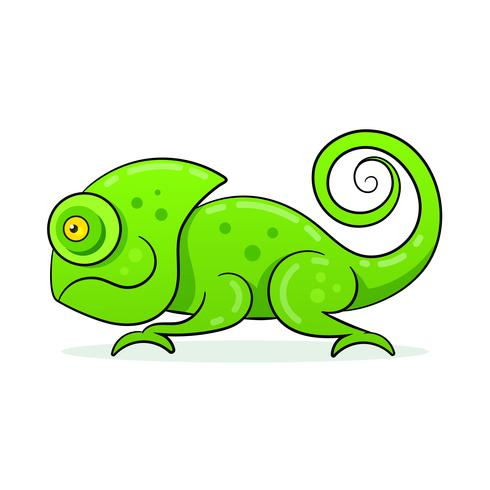 Chameleon Icon. Cartoon Illustration Of Walking Chameleon