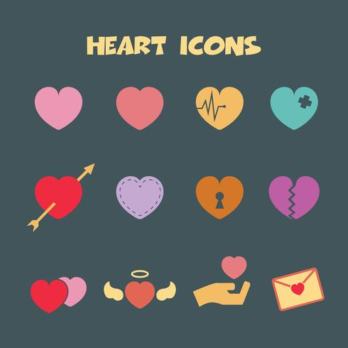 heart color icons symbol vector