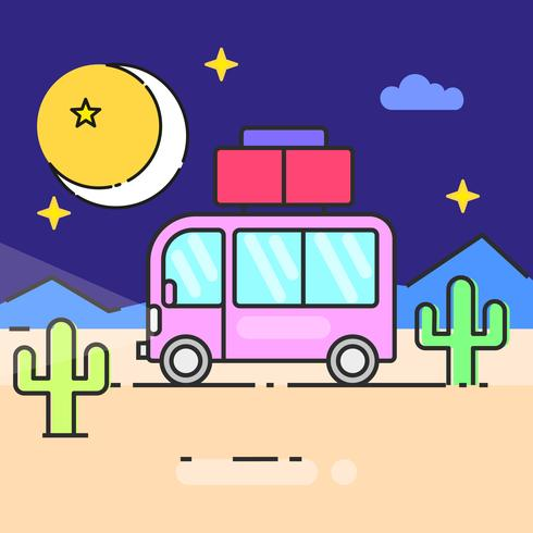 Bus travel the world illustration for your needs vector