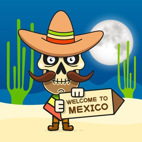 Cartoon Mexican Skull Vector Illustration For Dia De Los Muertos . Cute Male Skull