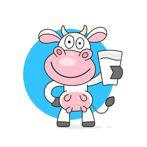 Cow with a glass of milk vector