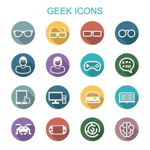 ícones de sombra longa geek vetor