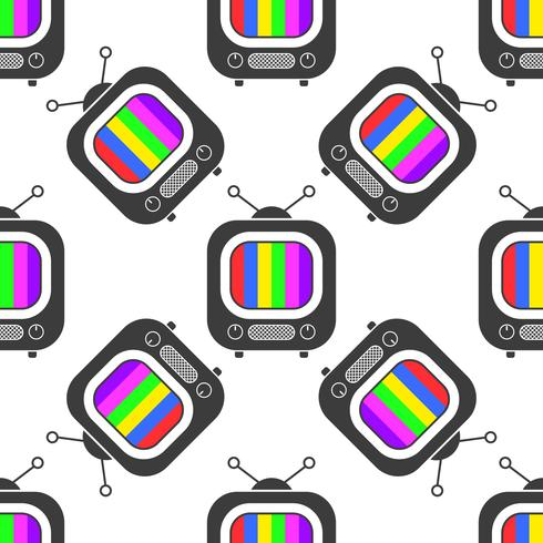 Tv-ikon i rad stil sömlös mönster bakgrund. Business platt vektor illustration. TV-skylt