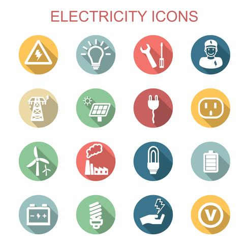 electricity long shadow icons vector