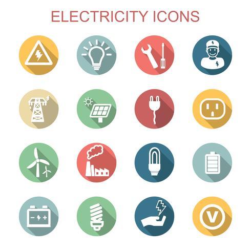 ícones de sombra longa de eletricidade vetor