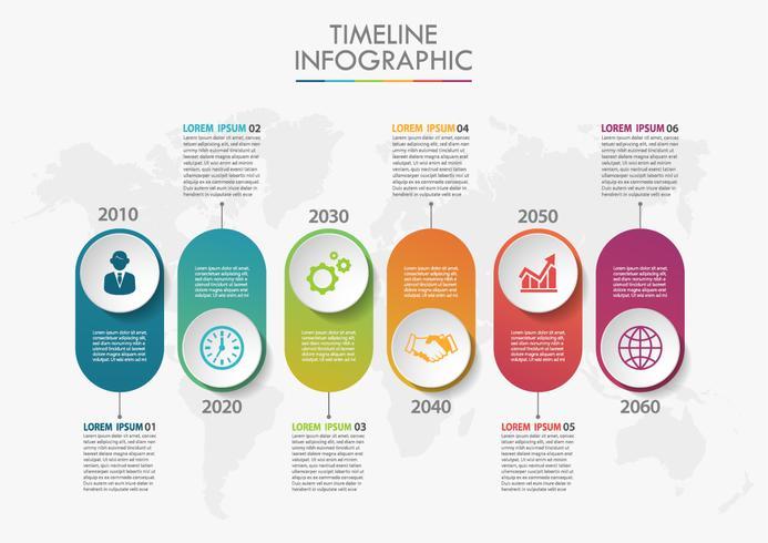 Visualización de datos empresariales. Iconos de infografía timeline diseñados para la plantilla de fondo abstracto.