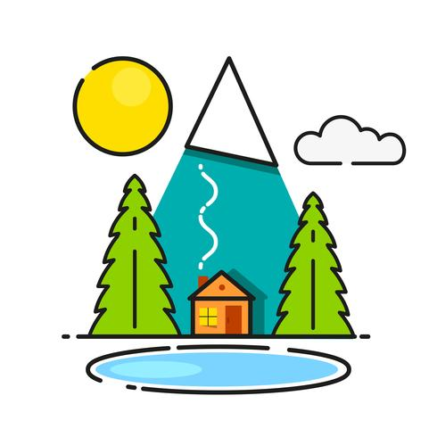 Log Cabin In The Woods Vector Icon Ready For Your Design, Greeting Card