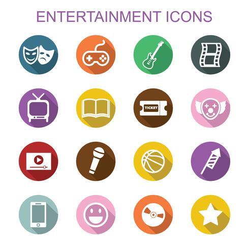entertainment long shadow icons vector