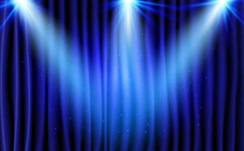 Blå Gardinteater Scen Stage Bakgrund. Abstrakt bakgrund med lyx silkesmält och studiolys för prisutdelningen. strålkastare lyser.