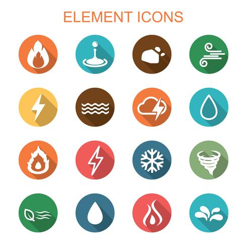 iconos de elemento larga sombra vector