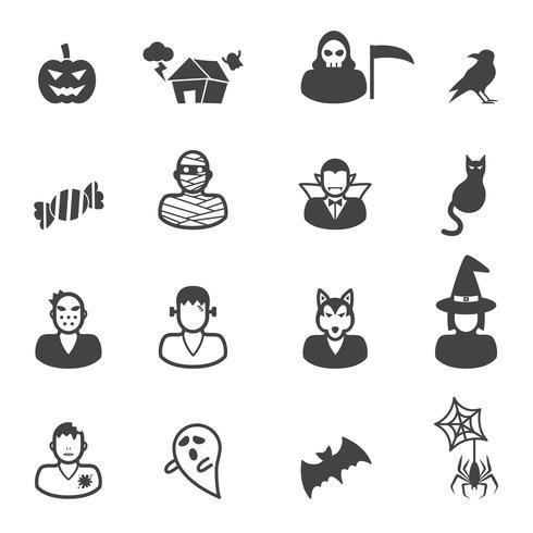 feliz halloween iconos vector