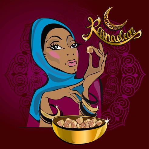 Ramadan Kareem. Text. Vector. Lettering. Greeting card designer. Beautiful girl.On Burgundy background. In gold lettering. Eastern sweets. Turkish delight vector
