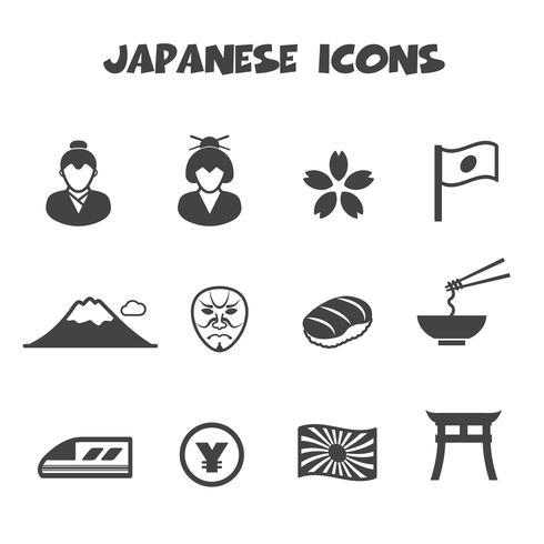 japanska ikoner symbol vektor
