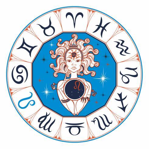 Signe du zodiaque Leo une belle fille. Horoscope. Astrologie. Vecteur.