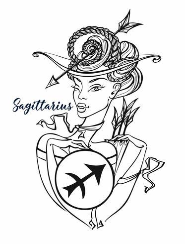 Segno zodiacale Sagittario una bella ragazza. Oroscopo. Astrologia. Colorazione. Vettore.