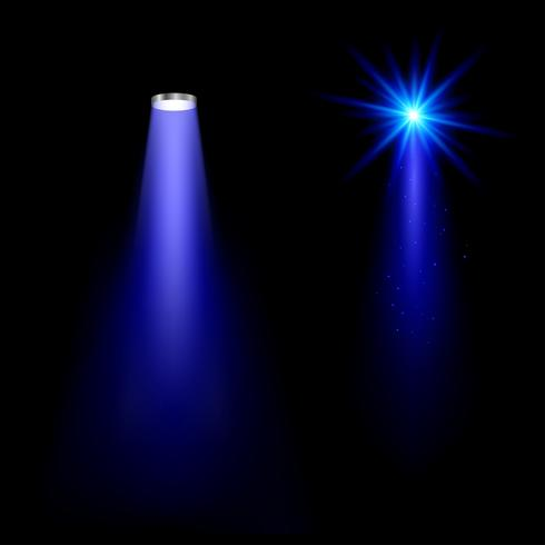 Blå ljuseffekter på svart bakgrund Ljusa strålar av ljus blinkar. vektor illustration.