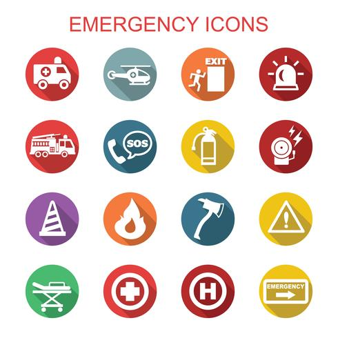 emergency long shadow icons vector