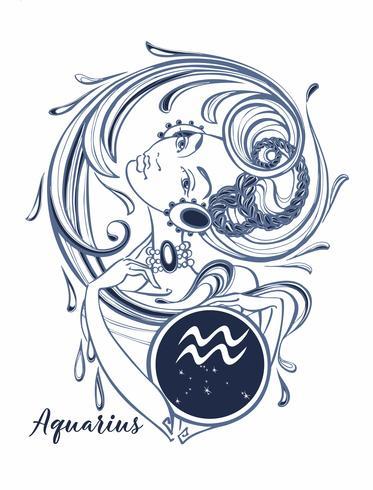 Signo del zodiaco Acuario una hermosa niña. Horóscopo. Astrología. Vector. vector