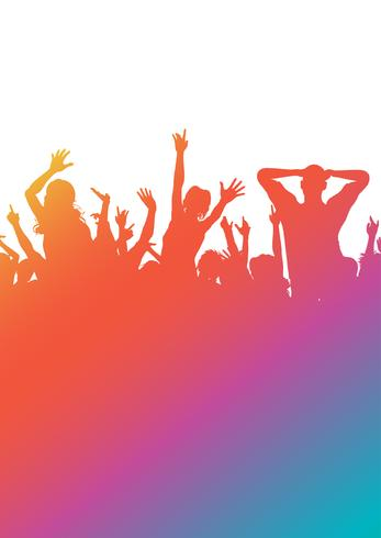 Colourful gradient party audience silhouette