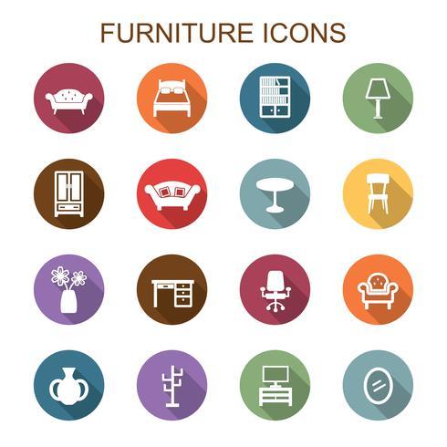 möbler lång skugg ikoner vektor