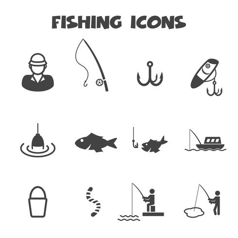 fishing icons symbol vector