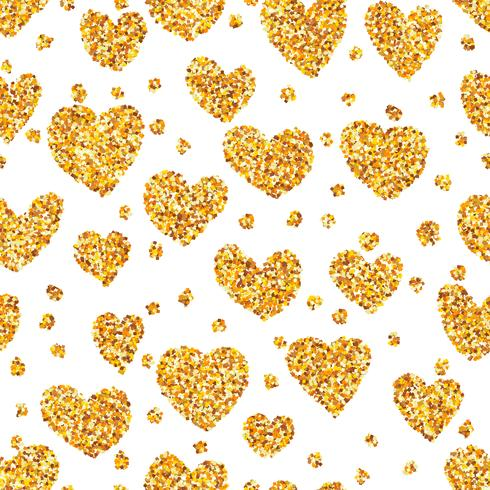 Guldsand på hjärtformad sömlös bakgrund.
