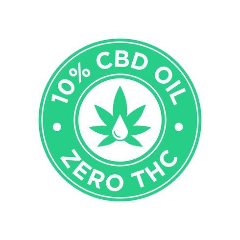 10 procent CBD Oil icon. Noll THC.