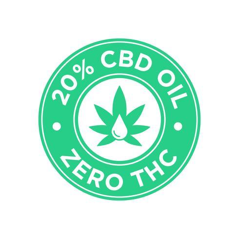 Ícone de 20 por cento de óleo CBD. Zero THC