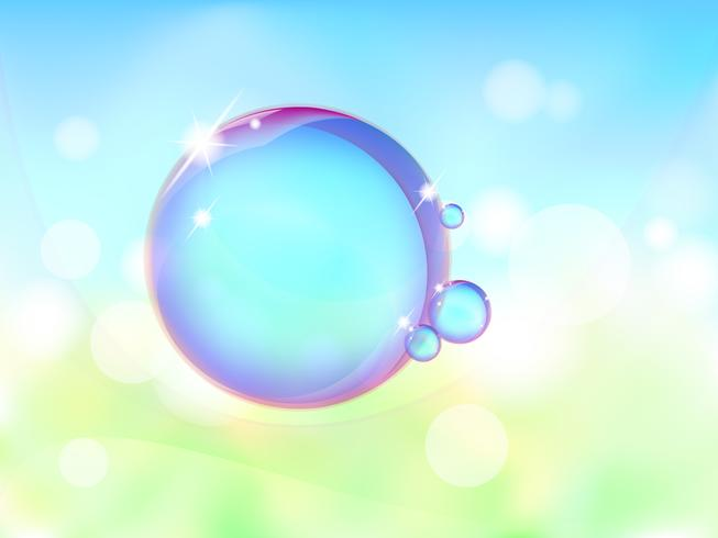 Transparent bubble on vector graphic art.