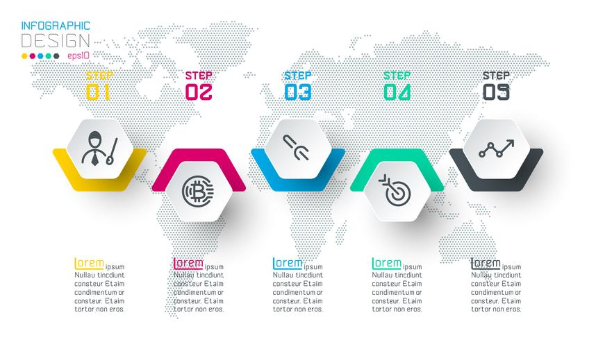 Business hexagon labels shape infographic groups bar. vector