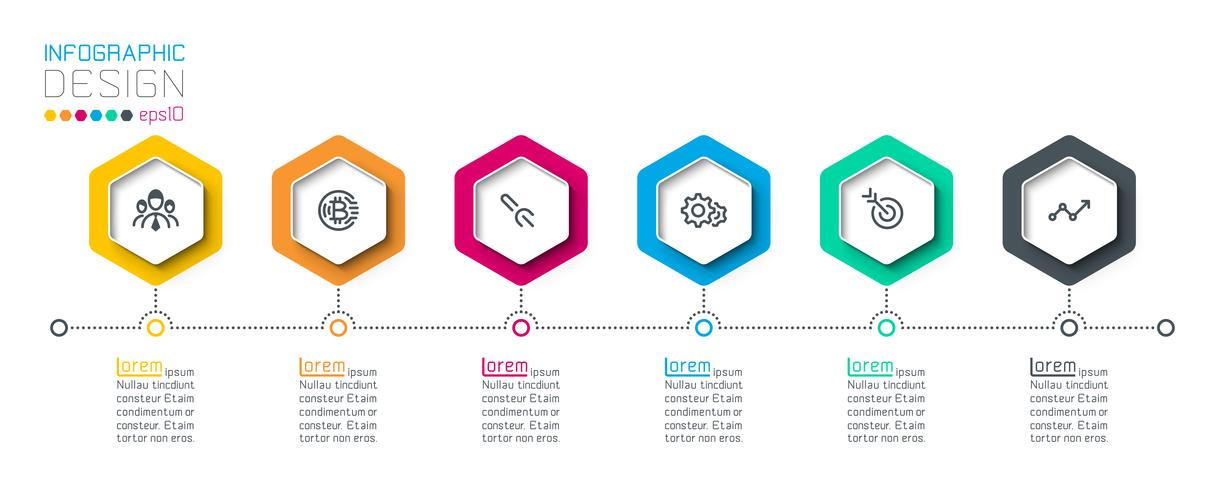 Hexágono de negocios etiquetas barra de grupos de infografía forma. vector